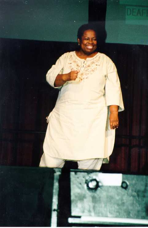 Nathie Marbury performing on stage