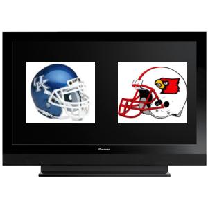 TV with UK and UL football helmets