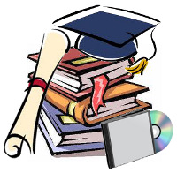 Clipart image of a stack of books, a CD, a graduation cap and a diploma.