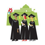 Clipart image of graduates standing in front of a university building.