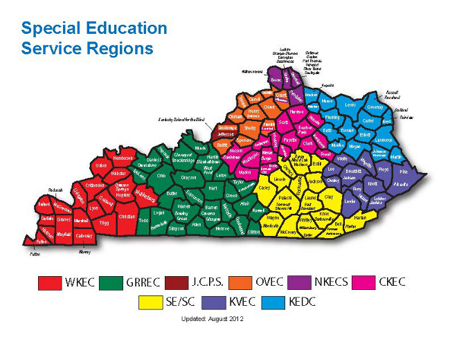 Kentucky state map depicting Special Education Service Regions. Click to open a larger view.