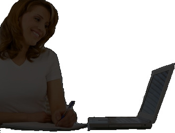 Silhouette image of woman with a laptop