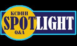Image of text reading 'KCDHH Spotlight Q&A'